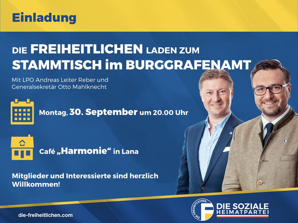 Freiheitlicher Stammtisch im Burggrafenamt am Montag, den 30. September in Lana