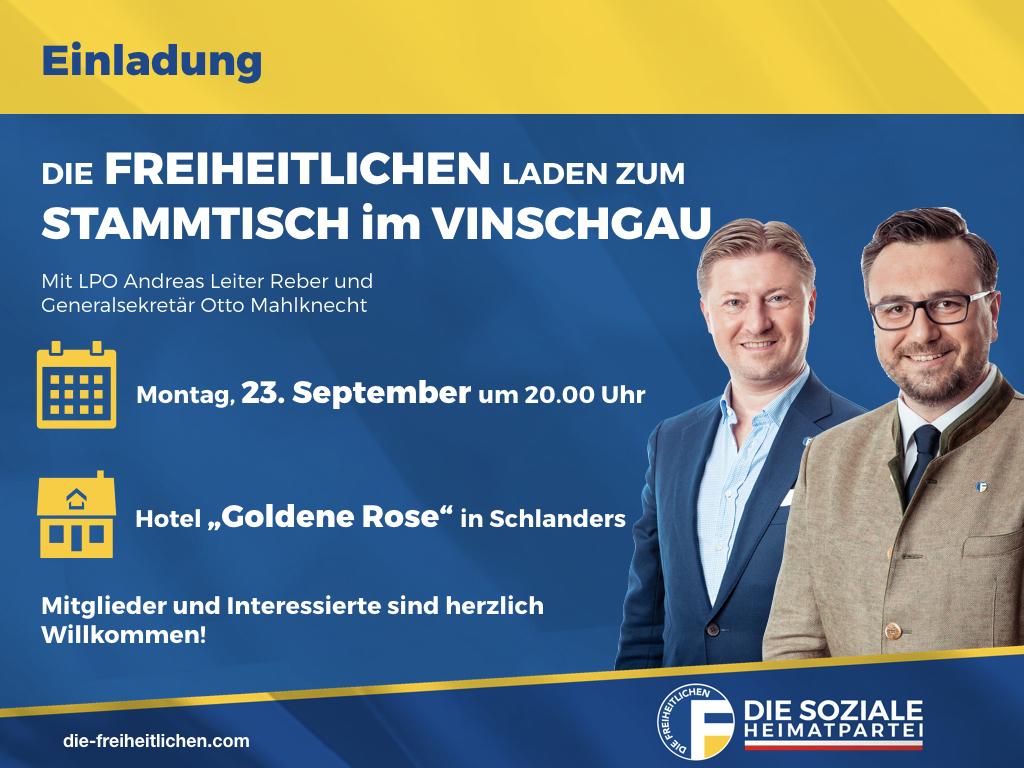 Freiheitlicher Stammtisch im Vinschgau am Montag, den 23. September in Schlanders