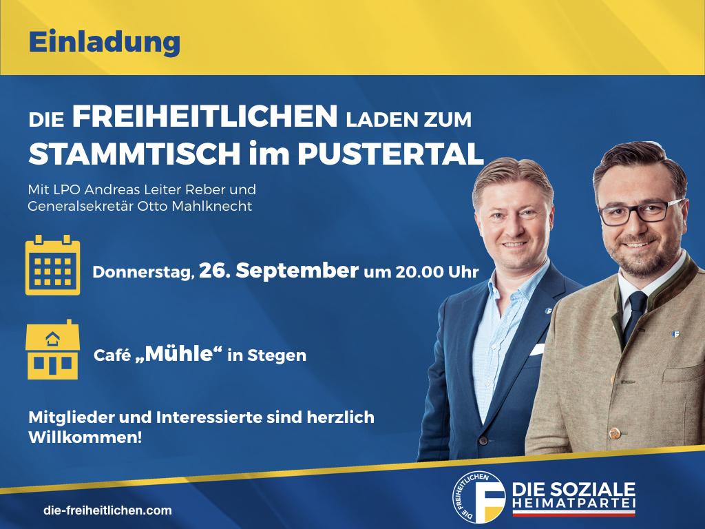 Freiheitlicher Stammtisch im Pustertal am Donnerstag, den 26. September in Stegen