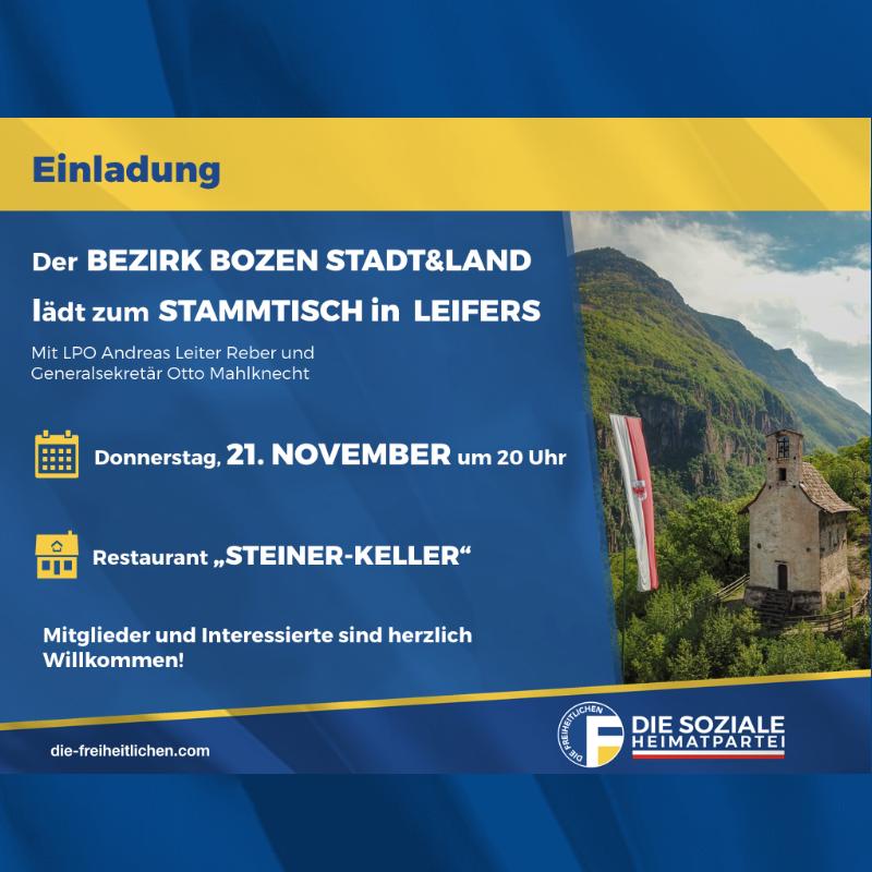 Stammtisch des Bezirks Bozen Stadt&Land am Donnerstag, den 21. November in Leifers