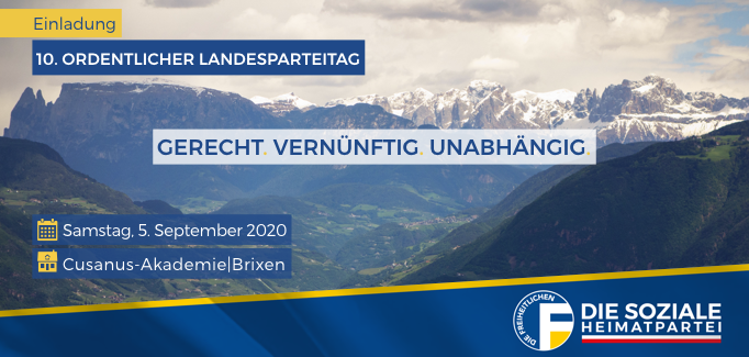 10. Ordentlicher Landesparteitag am 5. September in Brixen